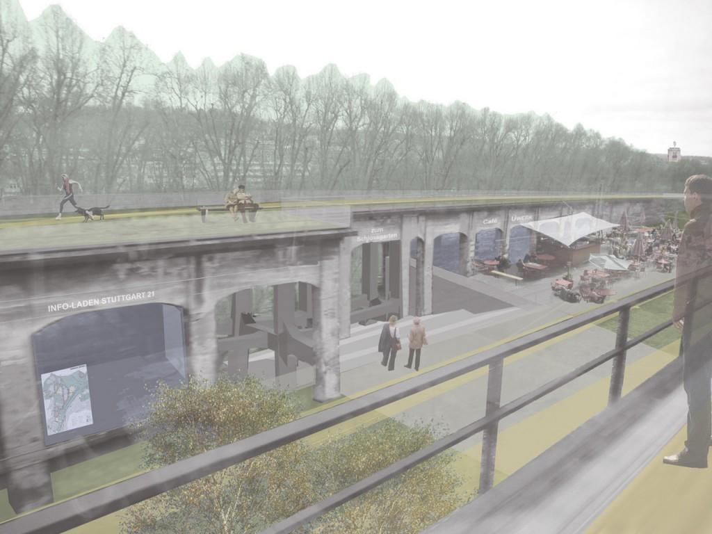 Das südliche Überwerfungsbauwerk als Verknüpfung von Stadt und Park, oben und unten